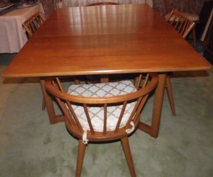 Conant Ball Mid Century Dining Table Chairs Pads