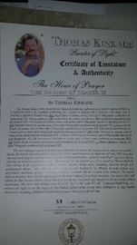 Thomas Kinkade papers of authenticity