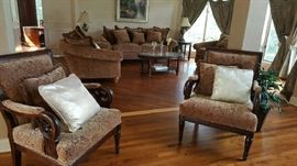 Living room set with French style arm chairs
