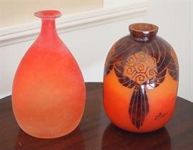 Art Glass, Murano Cenedese Verti vase, Charder Cameo glass vase