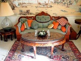 Empire Transitional Sofa, Persian rug