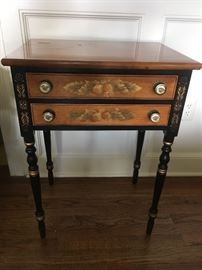 Hitchcock End Table, Black/ Wood tone  $300.00