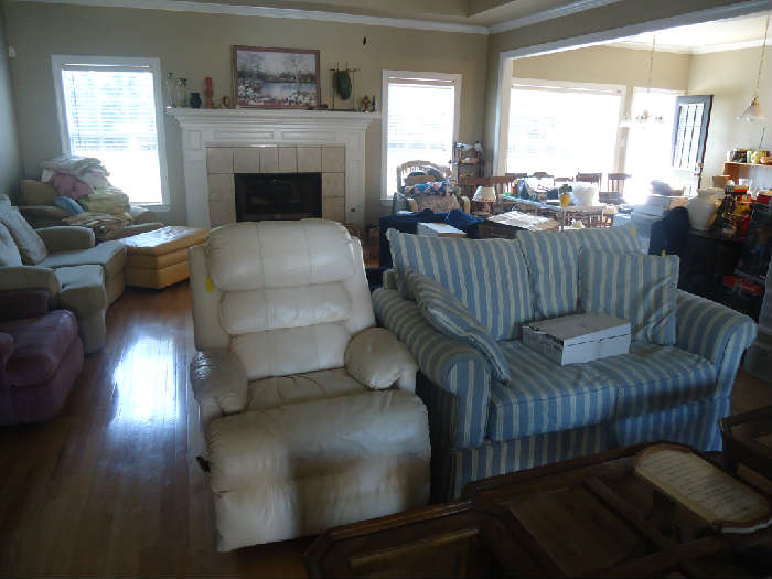 Loveseat & Leather Recliner
