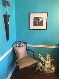 Hummingbird art, arm chair from dining room table