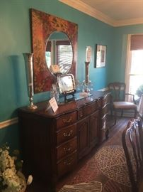 Buffet, mirror, decorative vases