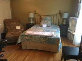 BED-SOLD, all else available! Chair & ottoman, pair of night stands and pair of lamps, pair of black bonded leather chairs