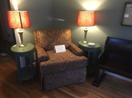 Upholstered chair, pair of end tables, pair of lamps