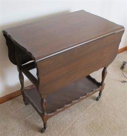 antique drop-leaf serving cart/table     LIVING ROOM