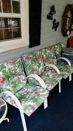 Patio chairs, cushiosn, table, etc