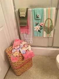 laundry basket and towels