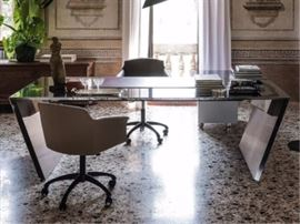 CATTELAN ITALIA VEGA DESK IN POLISHED STEEL BY GIORGIO CATTELAN