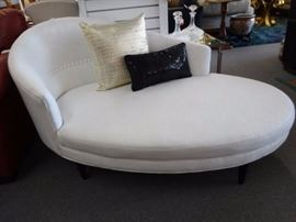 JONATHAN ADLER OVAL CHAISE IN IMMACULATE WHITE UPHOLSTERY