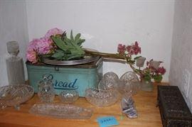 Decorative serving Pieces and Vintage Bead Box / Vintage Metal Tins