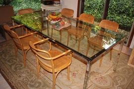 Glass and Chrome Dining Room Table with Eight Breuer Chairs