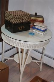 Round White Wicker Table with Glass Top, Decorative Boxes and more