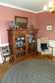 Beautiful Antique Oak Cabinet/Antique Oak Rocking Chair/Blue Willow China/Antique & Vintage Glassware/Oil Lamps/Silver/Oil Painting,etc...