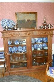 Beautiful Antique Oak Cabinet/Blue Willow China/Antique & Vintage Glassware/Oil Lamps/Silver/Oil Painting,etc...
