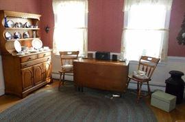 Vintage Hard Rock Maple, Dining Room Set, Antique Milk Can,Dishes,Glassware.