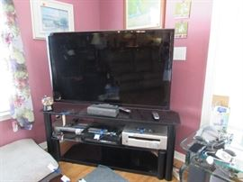 58 inch Samsung tv, stand, Sony surround south, Sony cd/dvd player mp3, VHS player