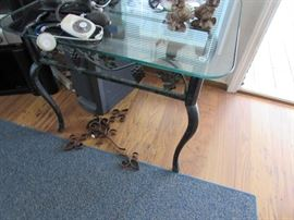 Glass top metal base side table (has matching coffee table)