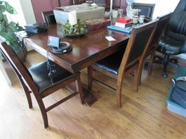 Dark wood trestle table with extensions and six chairs, GPS, Silverplate coffee/tea service
