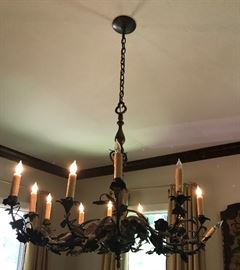 antique French bronze & iron light fixture