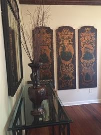 4 18th century painted leather French panels