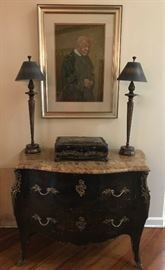 "black with chinoiserie  French Bombe chest with marble top, Alan Flattmann pastel, 20"" X 25"" The Reverend"