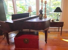 Mathushek piano 5 ft grand piano burled walnut c. 1920, red lacquer chest, Ed Dwight sculpture
