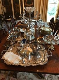 Beautiful silver tea service and tray, large silver and glass epergne, beautiful pair of English wine coasters