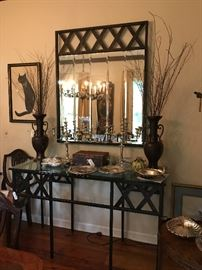 "iron and glass sideboard with mirror- made and designed by Joe & Judy Rankin,                                    pair of bronze Japanese vases, 20"" high .         rosewood letter box 1850 with mother of pearl inlay"