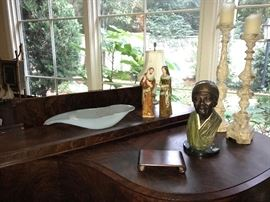 "Ed Dwight sculpture "" Harriet Tubman"",  Wolfe St Francis and lady, large Annie Glass bowl, pair of cathedral candlesticks"