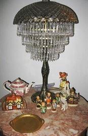 crystal lamp, hummels, Sadler teapot and cottage butter dish