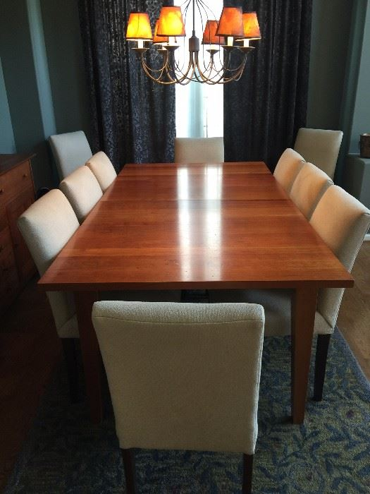 Room Board Dining Set Table With 2 Leaves 10 Chairs