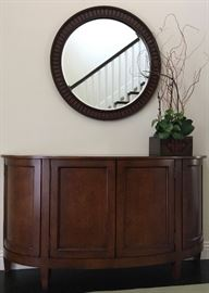 """Demi-lune Console (70"""" Long) and (36"""") Framed Beveled Mirror by Nancy Corzine"""