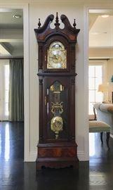 Stunning Bulova Tall Case Clock; Works; 3-Way Chimes