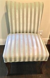 Pair Striped Velvet Slipper Chairs
