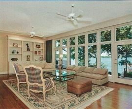 Showing the living room furniture and Oriental rug.