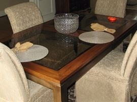 Moden Glass-Topped Dining Room Table with 4 chairs.