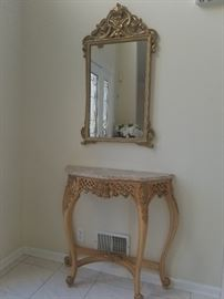 entry way marble top table and mirror prices to sell