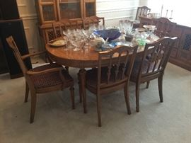 Pecan finish vintage oval dining table with 8 chairs, china cabinet and server all matching!