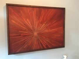 Interesting Mid Century wood strips painted art