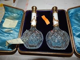 Faberge Crystal perfume bottles, bottle on right is signed