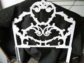 Vintage/Antique cast iron twin bed headboards.  Powder coated in snow white (2)