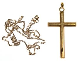 18k Gold Necklace and 14k Gold Cross