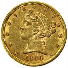 1880 5 Gold AU Details