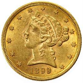 1899 5 Gold Unc.