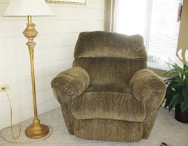 nice comfy recliner and metal floor lamp