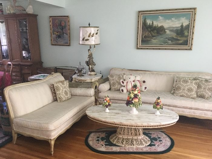 Vintage French Provincial Living Room Sofas Tables