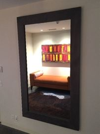 Custom suede framed mirror Fusion Home Fashion.